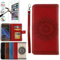 Leather Flip Wallet Card Slot Case Cover For Samsung Galaxy