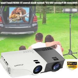 7000 LM HD Mini Home Projector LED 1080P 3D 100/120/84/72''