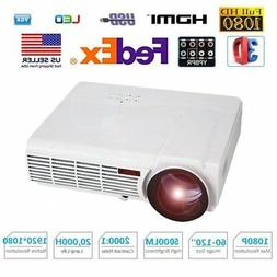 "LED 5000 Lumens 1080P 4K HD Multimedia Projector 3D 5.8"" Scr"