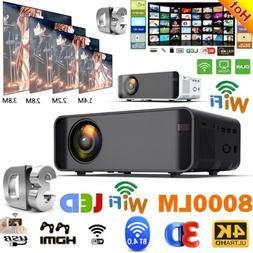 LED Smart Home Theater Projector Android 6.0 Wifi BT 1080p F