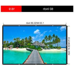 Manual 60''16:9 4K 3D HD Collapsible Hanging Projector Scree