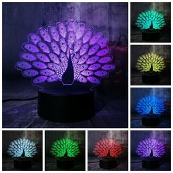 Peacock Peahen Open Screen 3D Night Light LED Table Lamp 7 C