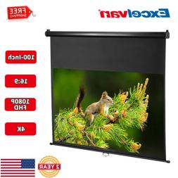 Portable 100'' 16:9 Manual Pull Down Projector Screen 1080P