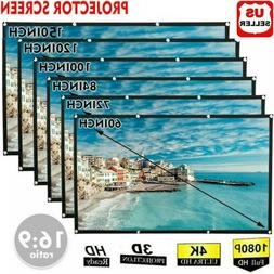Portable Foldable Projector Screen 16:9 HD Outdoor Home Cine