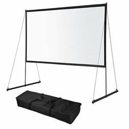 Portable Foldable Projector Screen w/ Stand 16:9 HD Home The