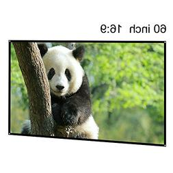 EUG 60 Inch Portable Projector Screen 16:9 Wide Projection S
