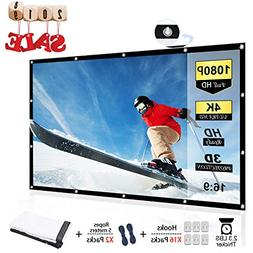 Chalpr 120 inch Projector Screen 16:9 HD Anti-Crease Portabl