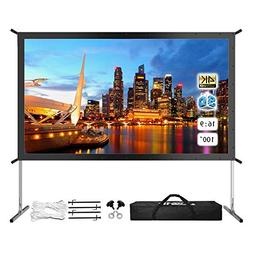"Projector Screen with Stand, 100"" 4K HD Outdoor/Indoor Porta"