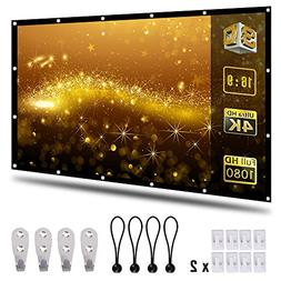 Coolwoo 120 inch Projector Screen, 16:9 HD Foldable Portable