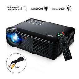 "HD Video Projector,Joyhero 4000 Lumens HDMI Max 200"" Big Scr"