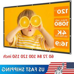 "Projector Screen 16:9 HD 60""-150"" Foldable Anti-Crease Movie"