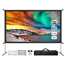 Outdoor Projector Screen 4K Ultra HD, Portable Foldable Movi