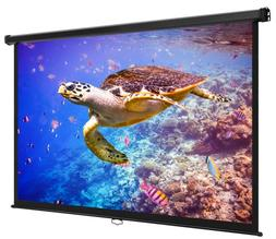 Pull Down Projector Screen 80 Inch Widescreen Indoor Home Th