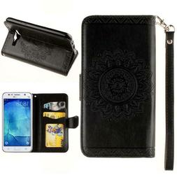 Retro Leather Card Wallet Flip Case Cover + Film For Samsung