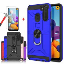 For Samsung Galaxy A21 A11 A01 Ring Holder Case With Kicksta