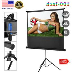 "Stand Tripod 100"" 16:9 Full HD 1080P Pull Up Projector Scree"