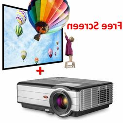 Video LED Projector Home Theater and Free 100'' Projector Sc