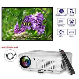 EUG WXGA LCD HD Video Projector 3600 Lumens 1080P Support LE